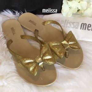 🆕Melissa Gold Bow Jelly Sandals NWT